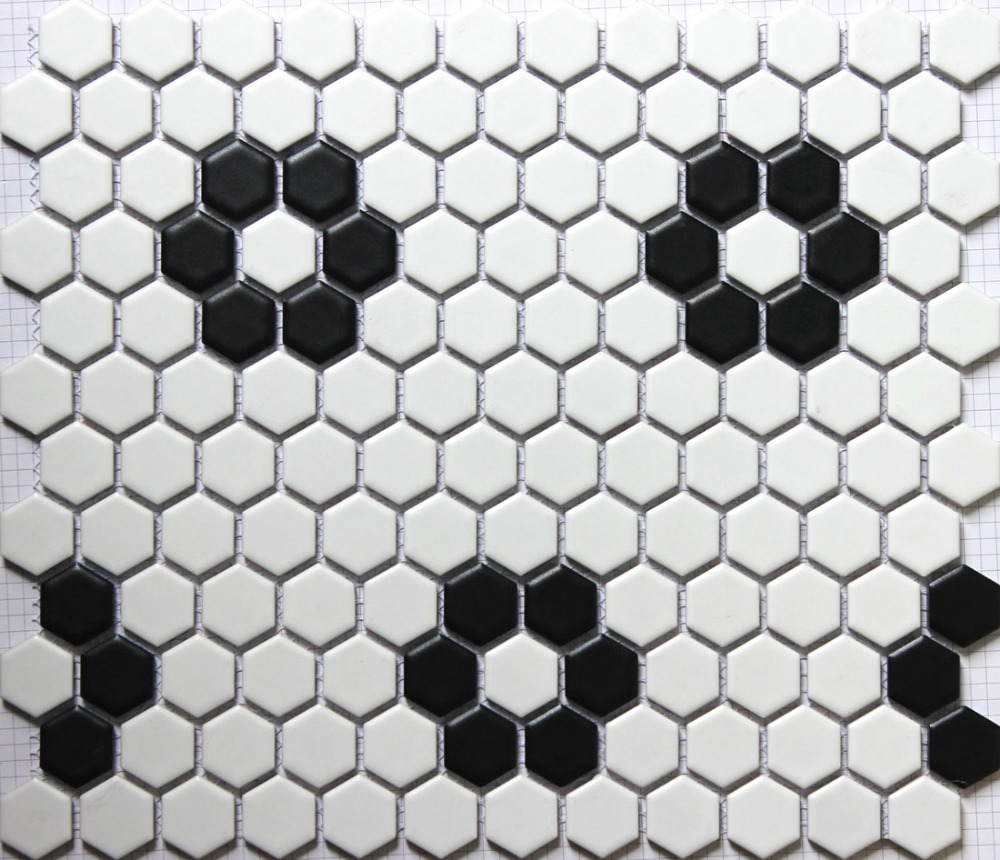 Classic white mixed black hexagon flower pattern ceramic mosaic classic white mixed black hexagon flower pattern ceramic mosaic tiles kitchen backsplash wall bathroom wall and floor tiles in wallpapers from home dailygadgetfo Gallery