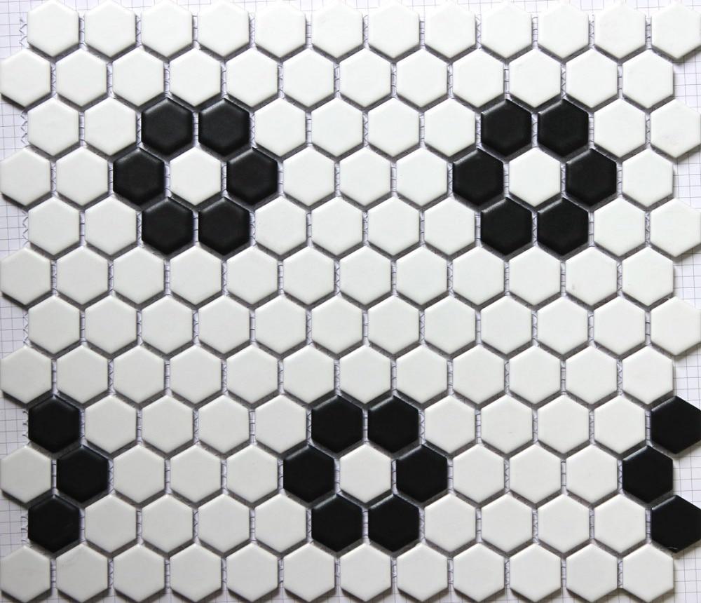 classic white mixed black hexagon flower pattern ceramic mosaic tiles kitchen backsplash wall