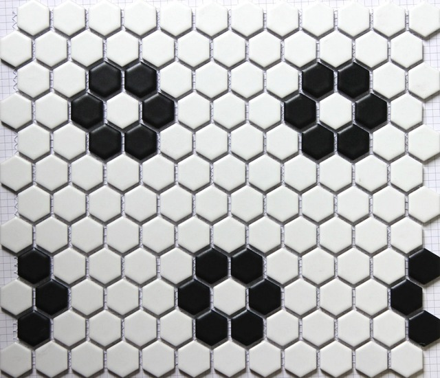 Classic White Mixed Black Hexagon Flower Pattern Ceramic Mosaic