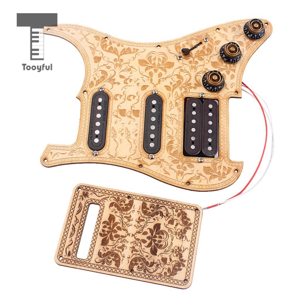 Tooyful Maple Wood SSH Prewired Alnico V Humbucker Pickup Pickguard Scratch Plate Set for Electric Guitar