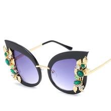 Luxury brand design diamond cat eye sunglasses personality frame new fashion trend big sunglasses female polarized sunglasses