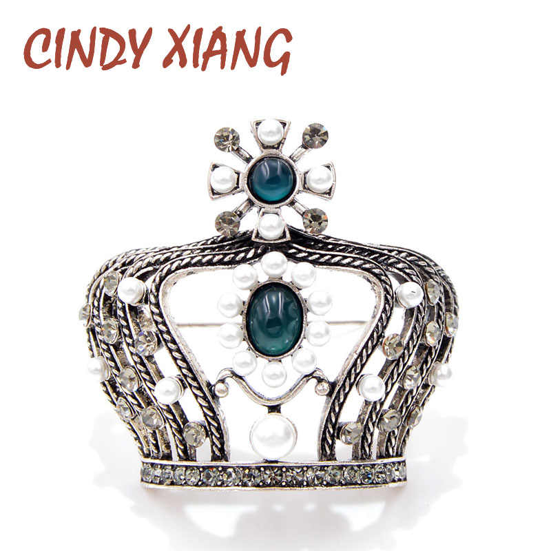 CINDY XIANG New Arrival Vintage Pearl Crown Brooches for Women 3D Style  Baroque Brooch Pin High ded674d31dae