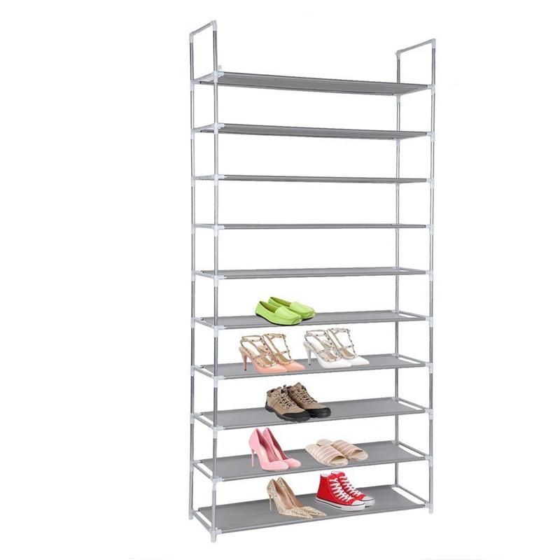 LUOEM 50 Pair 10 Tier Shoe Shelves Space Saving Storage Organizer Free Standing Shoe Tower Rack