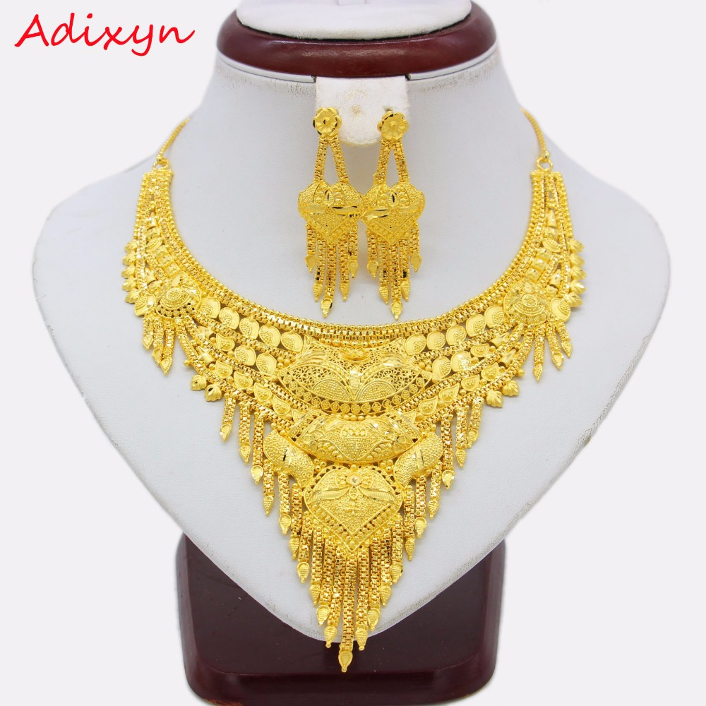 Adixyn Ethiopian Necklace/Earrings Jewelry Set For Women Girls Gold Color/Copper Trendy Arab/African Engagment Gifts N12305