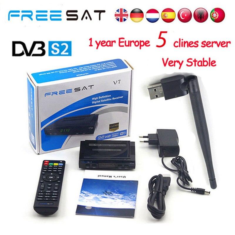 TV vía satélite Receptor decodificador freesat V7 y X800S HD DVB-S2 + USB Wfi Receptor con 5 líneas Europa Cline cuenta apoyo powervu