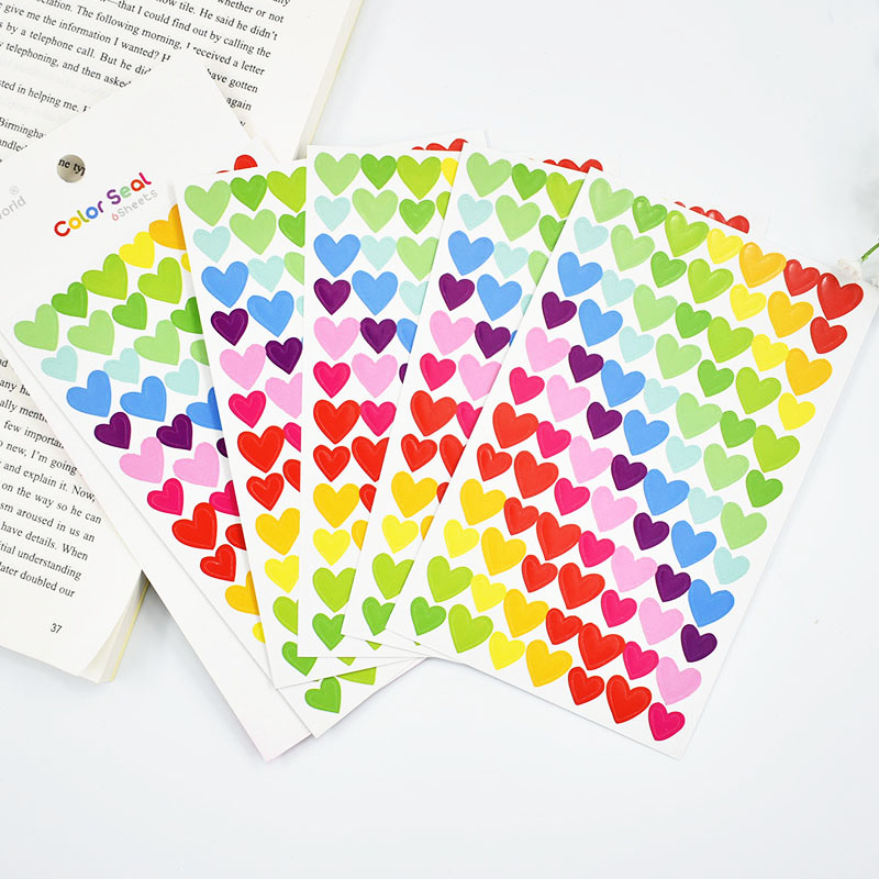 6 pcs/lot DIY Cute Kawaii Colorful Paper Heart Decorative Adhesive Stickers For Home Decoration Photo Album Scrapbooking Diary 70 pcs lot diy cute kawaii bear owl pvc decoration stickers cartoon dog cat sticky paper for photo album student 3332