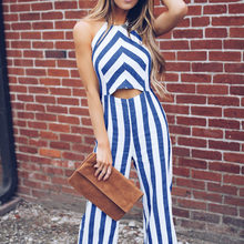 7098c187d3b Hollow Out Halter Backless Stripped Summer Jumpsuits Women Causal Wide Leg  Pants Sexy Rompers Streetwear dcj18628