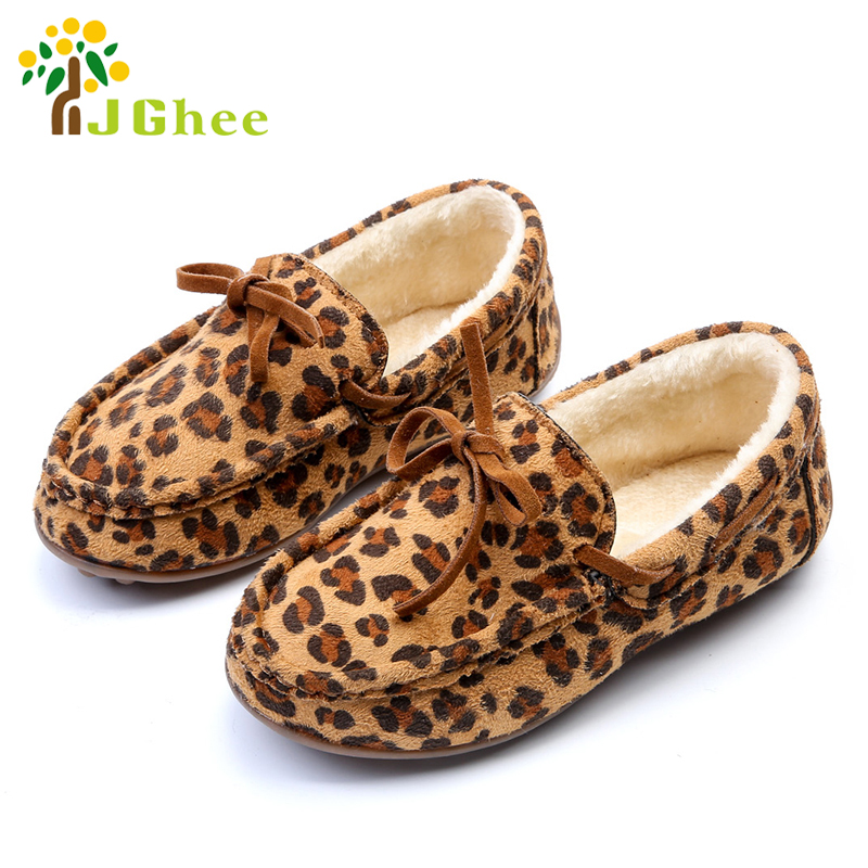 Winter Fashion Kids Shoes For Boys Girls Warm Cotton Plush Inside Kids Flats Childrens Winter Shoes With Leopard Sneaker