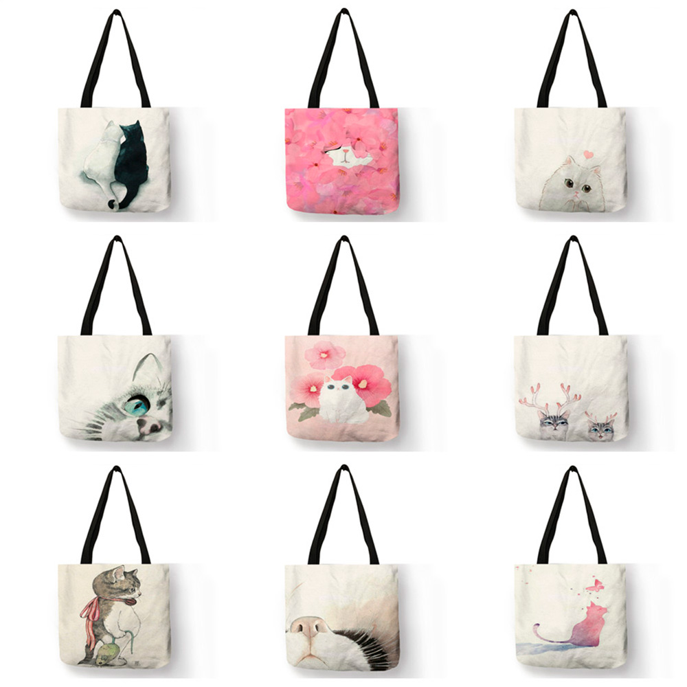 Watercolor Hand Painted Tote Bags Floral Cute Cat Print Shoulder Bag For Women Lady  Office Handbag Daily Casual Shopping Bags