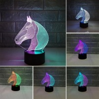 Novelty lighting creative touch acrylic horse head colorful charging LED table lamp night light