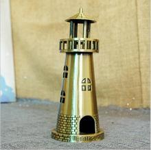 DIY Metal Crafts Navigation Alloy Lighthouse Model Creative Building Souvenir Gifts Home Office Desktop Decorative