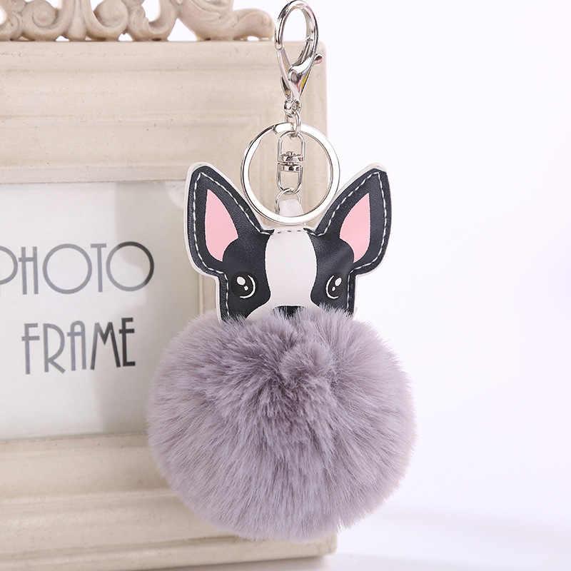 สุนัข Pompom Key ChainFluffy กระต่าย Fur Ball ภาษาฝรั่งเศส Bulldog พวงกุญแจ Pu หนังสัตว์สุนัขพวงกุญแจกระเป๋า Charm Trinket