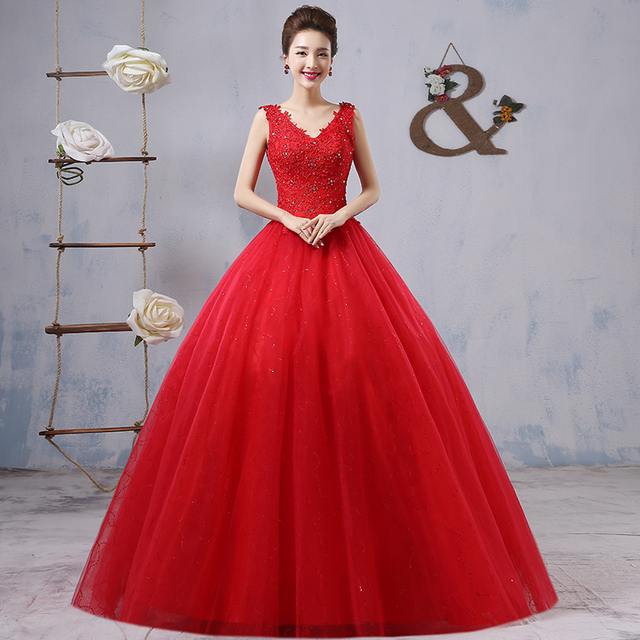 2017 Big Size Bridal Dress Vestido De Noiva Red Wedding Plus The