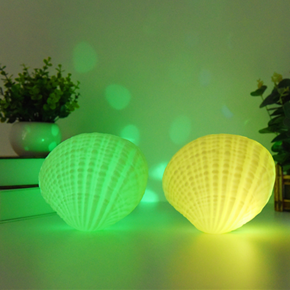YIYANG LED Music Night Light 7 Colors Shell Wireless Bluetooth Player Sound Speaker Valentine Day Rechargeable Home Bedroom Lamp