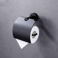 Matt Black Toilet Paper Roll Holder Toilet Tissue Holder SUS 304 Stainless Steel Modern Round Style Wall Mount
