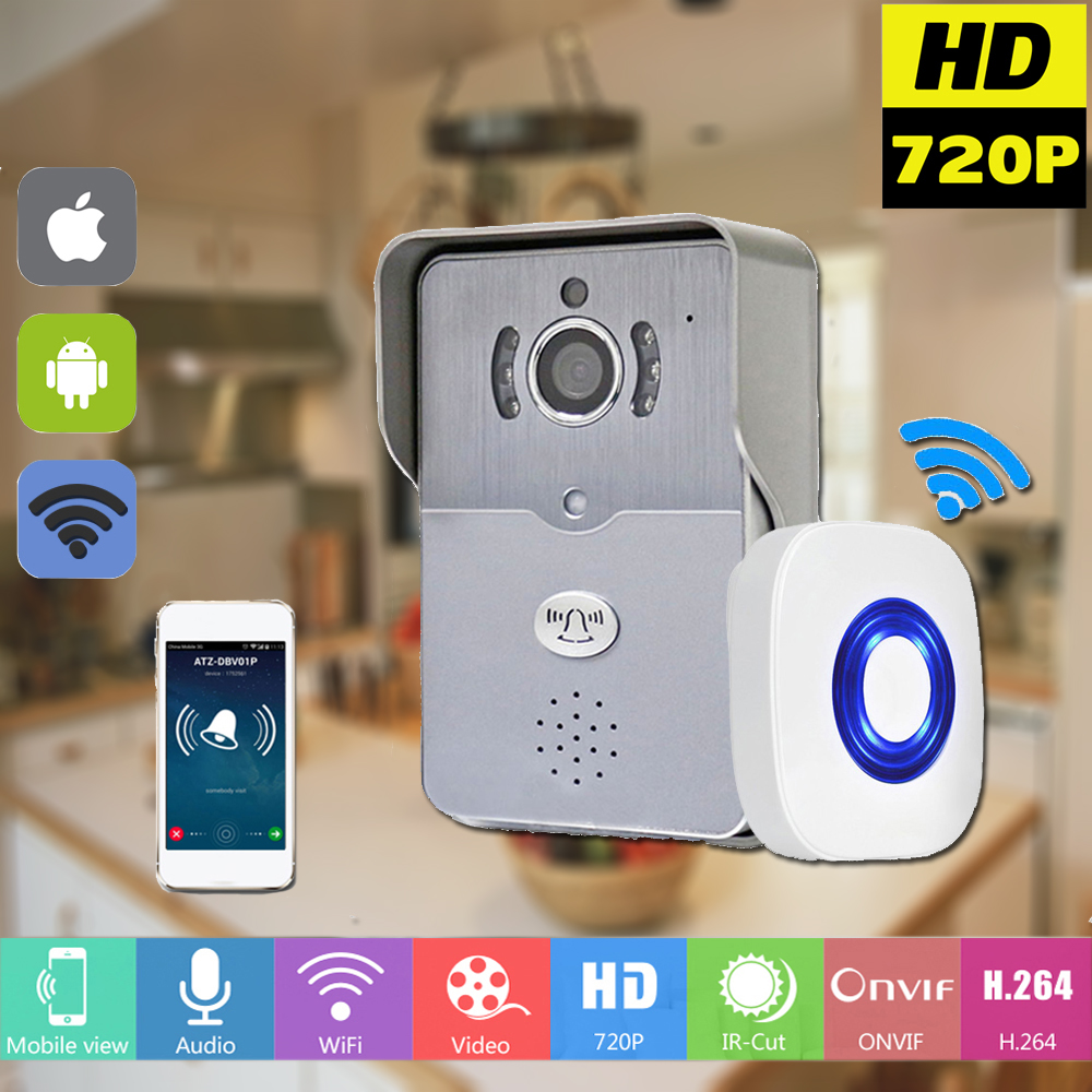 Wireless IP Doorbell With 720P Camera Video Intercom Phone WIFI Door bell Night Vision IR Motion Detection Alarm for IOS Android kinco wifi remote control night vision video doorbell hd waterproof dtmf motion detection alarm smart home for smartphone