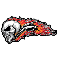 Skull Flame Large Patch Sticker Motorcycle Vinyl Car Laptop Accessories Decorative Decal