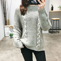 2016 New Casual Jumper Sweater Solid Color Brief Long Sleeve Hemp Sweaters O-Neck Loose Knitwear Pullovers AA8374-1207