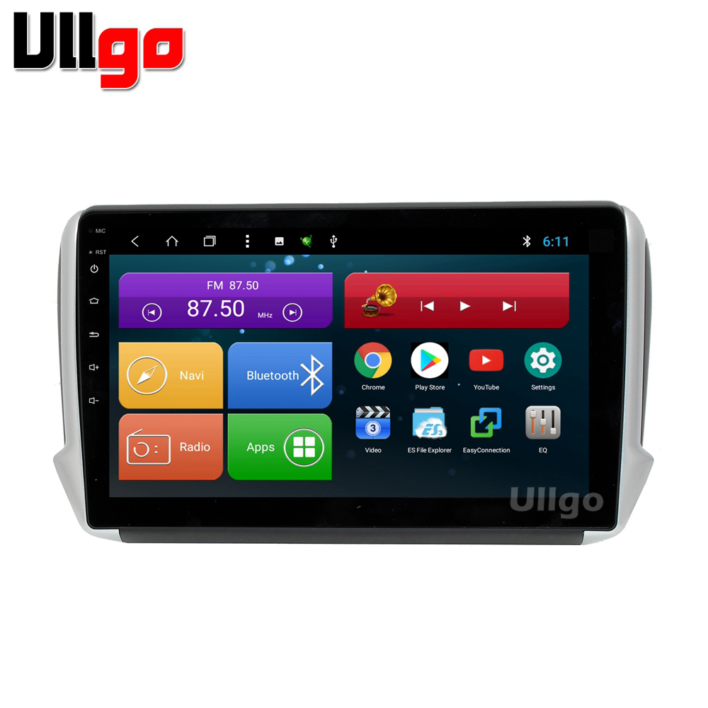 10.1 inch <font><b>Android</b></font> 8.1 Car Head Unit for <font><b>Peugeot</b></font> 2008 <font><b>208</b></font> Autoradio Car Stereo with BT Radio RDS Mirror-link Wifi image