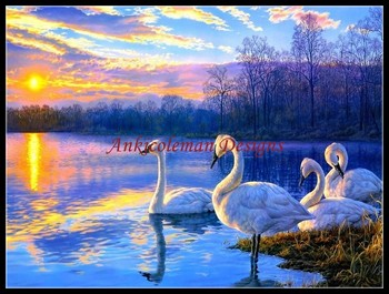Needlework for embroidery DIY DMC High Quality - Counted Cross Stitch Kits 14 ct Oil painting - Morning in Swan Lake