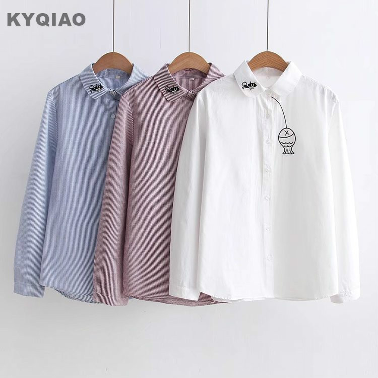 Blouses & Shirts Kyqiao Cartoon Shirts 2019 Mori Girls Spring Autumn Japanese Style Fresh Kawaii Long Sleeve Blue White Animal Blouse Blusa High Quality Materials