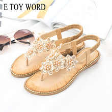 E TOY WORD womens sandals summer new bohemian flower fashion Flat sexy Clip Toe woman Rhinestone