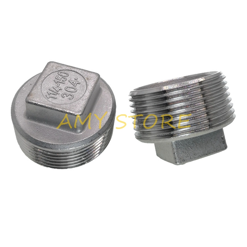 1Pc SS304 Stainless Steel Square Head Pipe Fitting Plug 1/4