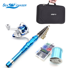 Fishing Sort out Set 1.5M 1.8M 2.1M blue Telescopic Fishing Rod and Spinning Reel Fishing line Hook bait Superhard fishing pole