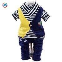 2015 roupas de outono do bebê define bebê meninos moda o pescoço de mangas compridas terno camisa e calças vestuário set roupas para o bebê kid boy