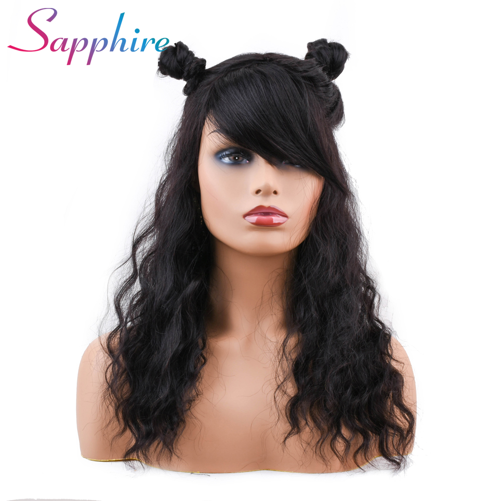 Sapphire Brazilian Ocean Wave Human Hair Wigs With Adjustable Bangs Machine Human Hair Wigs Non Remy Hair Short Wigs Preventing Hairs From Graying And Helpful To Retain Complexion Hair Extensions & Wigs