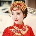 Китайский Традиционный Шпилька Головные Уборы Цветок Форма Красный Шарики Смолаы Кисточкой Лента Для Волос Для Невесты свадебный Головной Убор Клип аксессуары