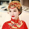 Chinese Traditional Hairpin Headware Flower Shape Red Resin Beads Tassel Hairband For Bride wedding Headdress Clip accessories