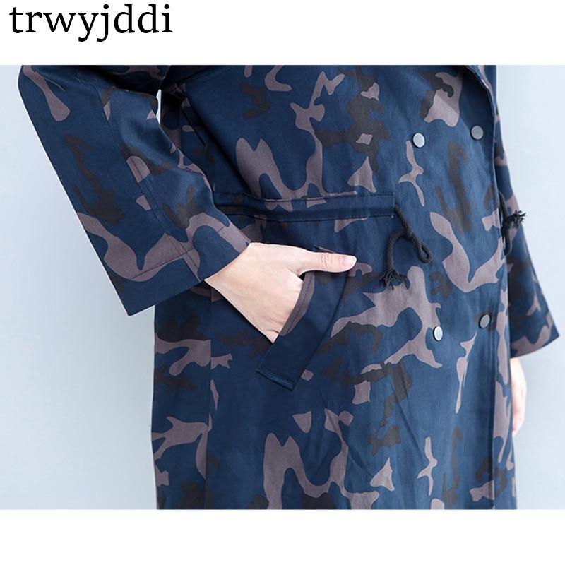 Mode Picture Femmes Color Printemps Breasted Camouflage Coupe vent Capuche Oversize 2018 Cardigan Hiver Hl137 Coréenne À Manteau Veste Double 1HHPT