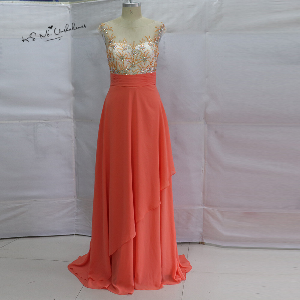 Robe de Soiree Coral Long Prom Dresses 2017 Bead V Back Chiffon Formal Evening Gowns Gala Beautiful Pageant Dress for Graduation