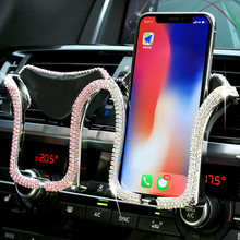 Universal Car Phone Holder with Crystal Rhinestone Car Air V