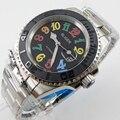 Мужские черные керамические часы Bliger  40 мм  с черным циферблатом и датой  с цветными знаками  saphire  автоматические мужские часы