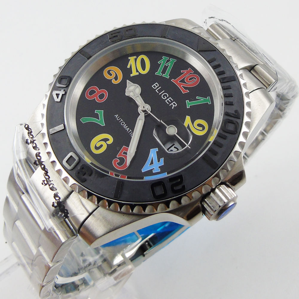 Bliger 40mm black dial date black Ceramic Bezel colorful marks saphire glass Automatic movement Men's watch цена и фото