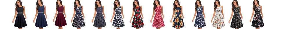 Nice-forever Vintage Elegant Embroidery Floral Lace Patchwork vestidos A-Line Pinup Business Women Party Flare Swing Dress A079 1