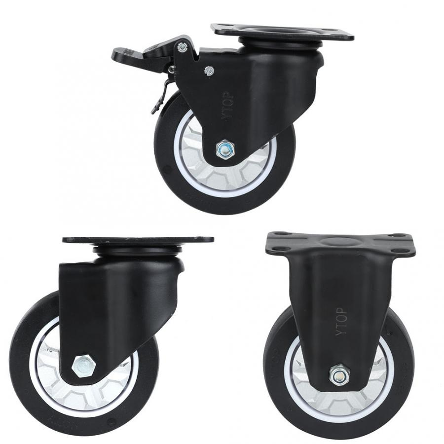 Set Of 4 Braked 4 Castor Wheels 100mm Large Swivel Trolley Dolly Cart Casters