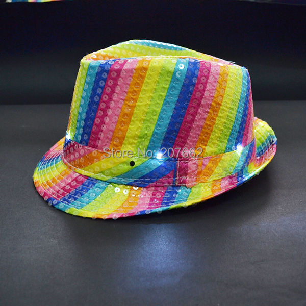 880ec3a2f US $9.9 |Aliexpress.com : Buy Free Shipping 2pcs fashion light dance toys  Super Bright led hat rainbow sequin hat for party supplies from Reliable ...