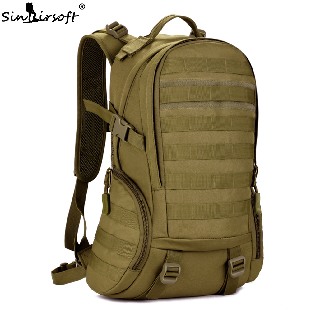 SINAIRSOFT 25L Camping Backpack Waterproof Molle Backpack Military School Backpack Tactical Sport Hiking Cycling backpack LY0020 sinairsoft military tactical backpack 35l rucksack 14 inches laptop fishing molle system backpack trekking bag gear ly0020