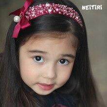 Korea  Crystal Flower Crown Handmade Hairband for Girls Hair Accessories lovely embroidery Band Headband Princess 4