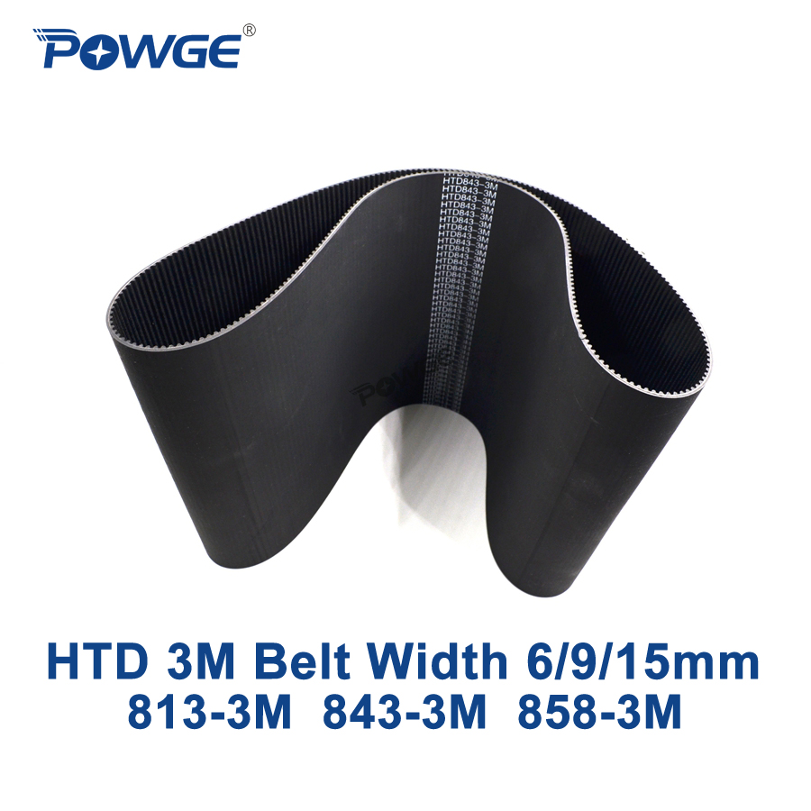 POWGE Arc Teeth HTD 3M Timing belt C= 813 843 858 width 6/9/15mm Teeth 271 281 286 HTD3M synchronous 813-3M 843-3M 858-3M