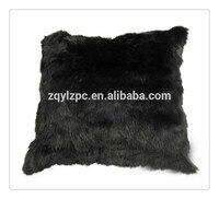 Wholesale cheap price natural black rabbit fur cushion