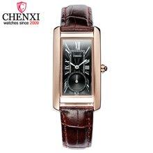 CHENXI מותג נשים צבעים נשי עצמאי בחיוג מלבני חיוג שעון קוורץ עור אופנה שעוני נשים שעוני יד מתנות