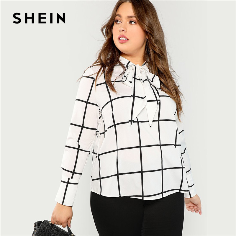 6d88e702d11f SHEIN Black And White Plaid Stand Collar Tie Neck Plus Size Office Lady  Blouse 2018 Women