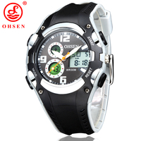 New Original OHSEN Brand Digital Sport Watches Wristwatch Children Boy Waterproof Black Rubber Band Fashion Popular