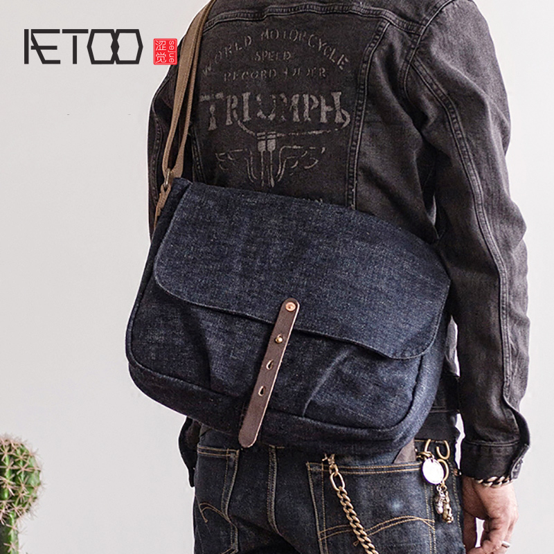 AETOO Retro woven denim tannin crossbody bag men s trend shoulder bag