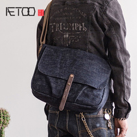 AETOO Retro woven denim tannin crossbody bag men's trend shoulder bag