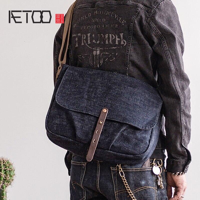 AETOO レトロ織デニムタンニンクロスボディのトレンドショルダーバッグ  グループ上の スーツケース & バッグ からの クロスボディ バッグ の中 1
